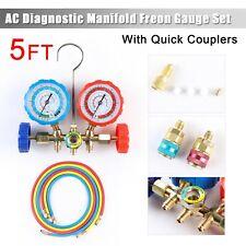 Hvac R502 R134A R12 R22 Diagnostic Manifold Gauge Set Acme Adapter&5Ft Hoses