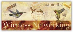 "Wireless Networking by Wendy Russell ~ Birds Mingling WiFi~20"" X 8"" Art Print"