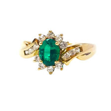Chrome Diopside oval cut & White topaz Engagement Ring Yellow Gold Silver  over