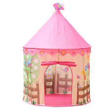 Pink Play Tent House Flowers Birds Kids Girl Princess Pop Up Indoor Outdoor