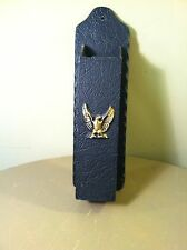 Antiqued Eagle Black Cast Aluminum Long Match Stick Holder Fireplace Wall Mount