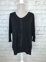 WALLIS - Black Long Sleeve Studded Detail Knitted Jumper - Womens - Size 18