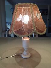 VINTAGE RETRO TABLE LAMP -with rattan shade and marble look stand -Purchased new