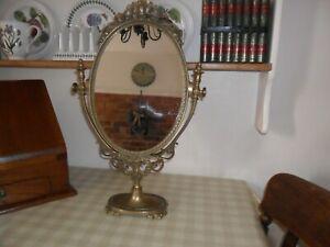 Vintage Ornate Brass Dressing Table Mirror