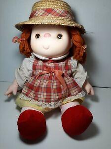 "1980 Ice Cream Doll Straw Hat Plaid Dress Red Hair Hong Kong 14"""
