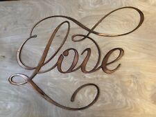 Love Sign Rustic Copper Patina Metal Wall Art