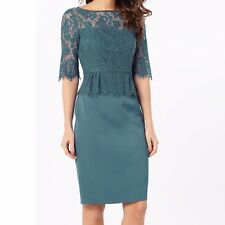 Phase Eight Henriette Lace Steel Blue Evening Wedding Races Pencil Dress 18 UK