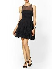 NWT Milly Stunning Plisse Twirl Illusion Dress Cocktail 6 Black Ret $450