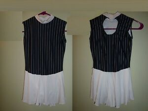Ice Skating Skater Dance Dress white and black stripes Adult S Made in USA!