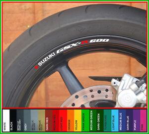 8 x SUZUKI GSXR 600 Wheel Rim Stickers - gsx r gsxr600 k1 k3 k4 k5 k6 k7 k8 k9