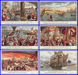 Paket 6 Glanzbilder Liebig Serie Admirale Und Korsaren Belgier