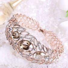 18K Gold GP made with Swarovski Elements White Champagne Bracelet SF031678a