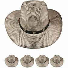 COWBOY HAT Western BULL GRAY BLACK  Cap Cowgirl Raffia Cap MEN WOMEN
