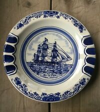 VINTAGE Large Blue Delft Ashtray W/ Whaleship GRATITUDE, Hand Painted In Holland