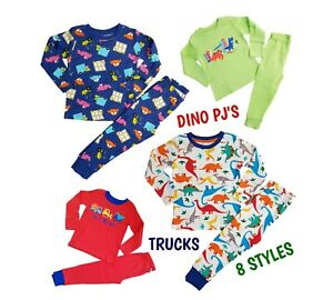 Boys Kids Baby Cars Dinosaurs Trucks Cotton Long Sleeve PJs Pyjamas Pajama NEW