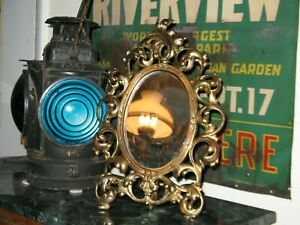 Bradley & Hubbard B & H Foundry 1880s Dresser Mirror Cast Iron Brass Plated