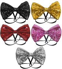 Glitter Sparkly Sequin Dicky Dickie Bow Tie Fancy Dress Costume Party Gold