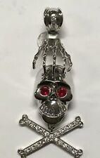 LARGE BIKER SKULL RED EYES AND CZ TEETH MOVEABLE PENDANT 925 MOTORCYCLE HANGING