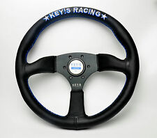 350mm KEY's Mid Deep Dish Leather Steering Wheel OMP SPC Racing Drifting ND