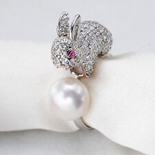 925 Sterling Silver Natural Pearl Rabbit Animal Ring Cubic Zirconia Size 7 Gift