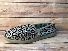 Skechers Lilbobs Silver Black Sequins Cheetah Print Y2 Slip On Flats Shoes