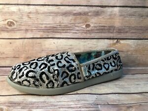 Skechers Lilbobs Silver Black Sequins Cheetah Print Y2 Slip On Flats Shoes