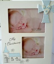 "BABY BOY KEEPSAKE ""MY CHRISTENING"" TIMBER PHOTO FRAME BABY SHOWER, NEWBORN GIFT"