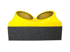 Double dual 12 fiberglass sub woofer speaker box enclosure carpeted case YELLOW