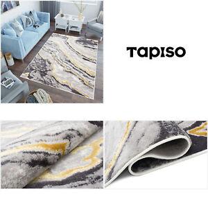 Teppich Kurzflor Modern Grau Golden Marmor Design 3D Optik  Wohnzimmer ÖKOTEX