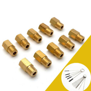 10x Sechskant-Hauptdüsen + Saubere Nadeln für MIKUNI VM/TM /TMX Vergaser 100-190