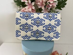 Anthropologie Shiraleah Blue White Satin Embroidered Bejeweled Clutch Bag Purse
