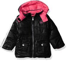 Pink Platinum Baby Girls Tonal Dot Puffer, Black, 18 M