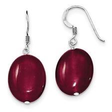 Sterling Silver Red Jade Shepherd Hook Dangle Earrings 15mm x 31mm