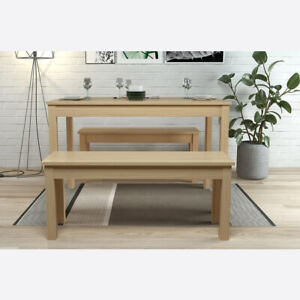 LPD Ohio Dining Table & Two Bench Set - Oak Seats Four