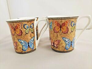 Queens India Hidden World 4 Fine Bone China Golden Monarch Mugs Excellent