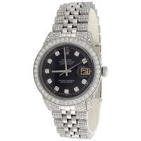 Mens 36mm Rolex DateJust Diamond Watch Jubilee Band 1601 Black Dial 8.75 CT.