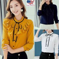 US Women Work Office Long Sleeve Bow Tie Ruffles Chiffon Blouse Tee Shirt Tops