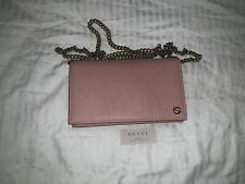 Gucci Betty Wallet on Chain WOC Black Leather Crossbody Bag Baby Pink