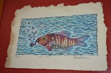 Psychedelic Fish Smoking Pipe EL SUB By ALVAREZ Signed Framed VTG 90s ART PRINT
