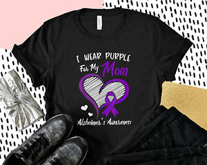 i Wear Purple For My Mom Alzheimers Awareness Cute Butterfly t Shirt Vintage Gif