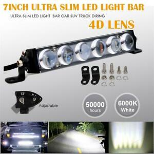 7inch 60W Slim Single Row 4D Spot Beam Off-Road LED Work Light Bar Waterproof