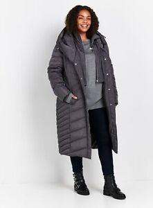 Evans Womens Black Midi Padded Coat Warm Winter Jacket Outwear Top Body Warmer