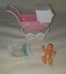 VINTAGE TUTTI WALKING MY DOLLY ORIGINAL BUGGY CARRIAGE W/ BABY RARE $44.99