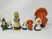 7 Vintage Gurley Thanksgiving Candles Pilgrim Couple Turkey some are not gurley