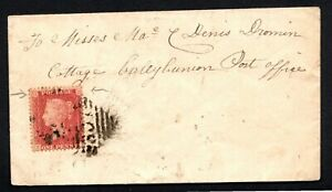 1859 Irish Cover 1d Red pl46 re-entry Listowel 307 to Ballybunion