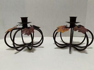 Two Iron Pumpkin Candle Holders | Autumn Fall Decor Modern