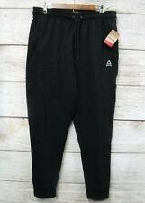 Reebok Jogger Pants Mens Large Black Slim Lifestyle Knit Jogger Pants New
