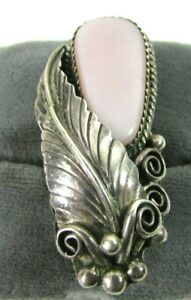 Sterling 925 Handcrafted Art Nouveau Style Ring With Opaque Lavender Stone Sz 7