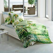 Bierbaum Mako Satin Bettwäsche 5163-01 Dschungel Palmen Tukan Grün Rot 135x200