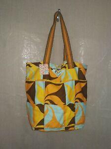 New Roxy Large Tote Beach Bag Shopper Floral orange brown bold retro print